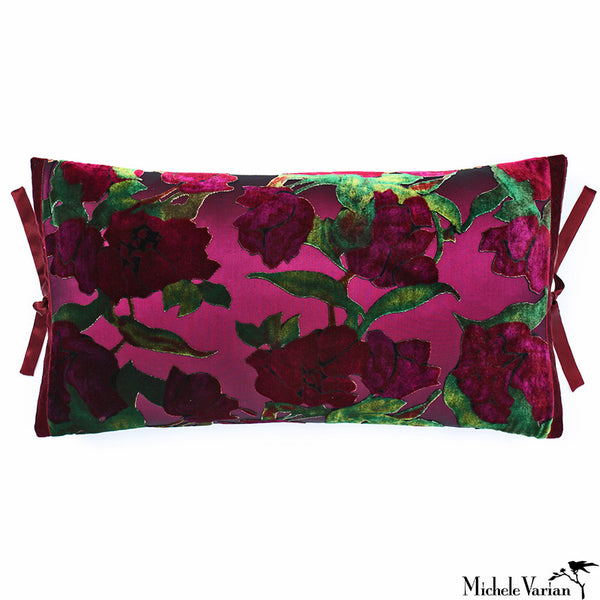Printed Velvet Pillow Plum Roses 12x22
