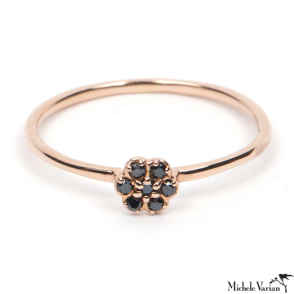 Black Diamond Rose Gold Rosette Ring