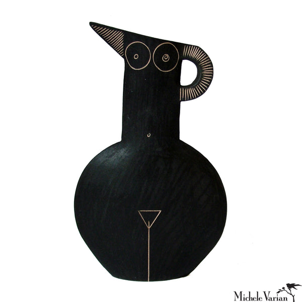 Frontal Nude Black Earthenware Pitcher