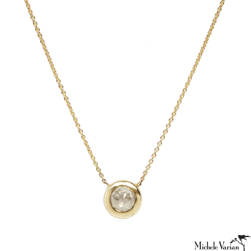 Round Diamond Shape Gold Necklace