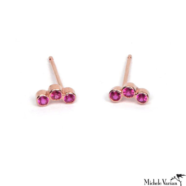 Ruby Trio Gold Studs Rose Gold