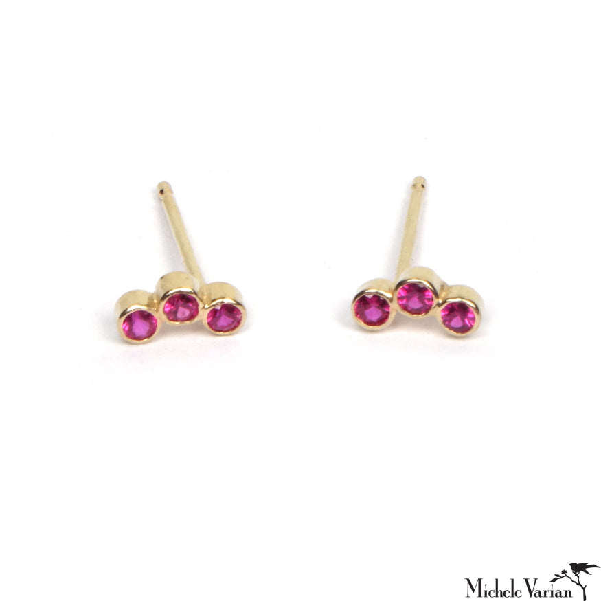 Ruby Trio Gold Studs