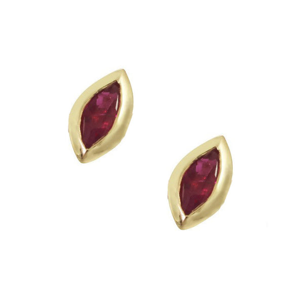 Gold and Ruby Leaf Stud Earrings
