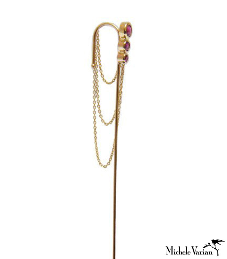 Rubies and Chains Gold Needle Earring