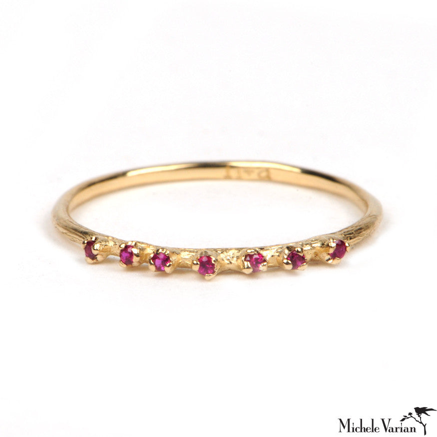 Gold Seven Ruby Ring
