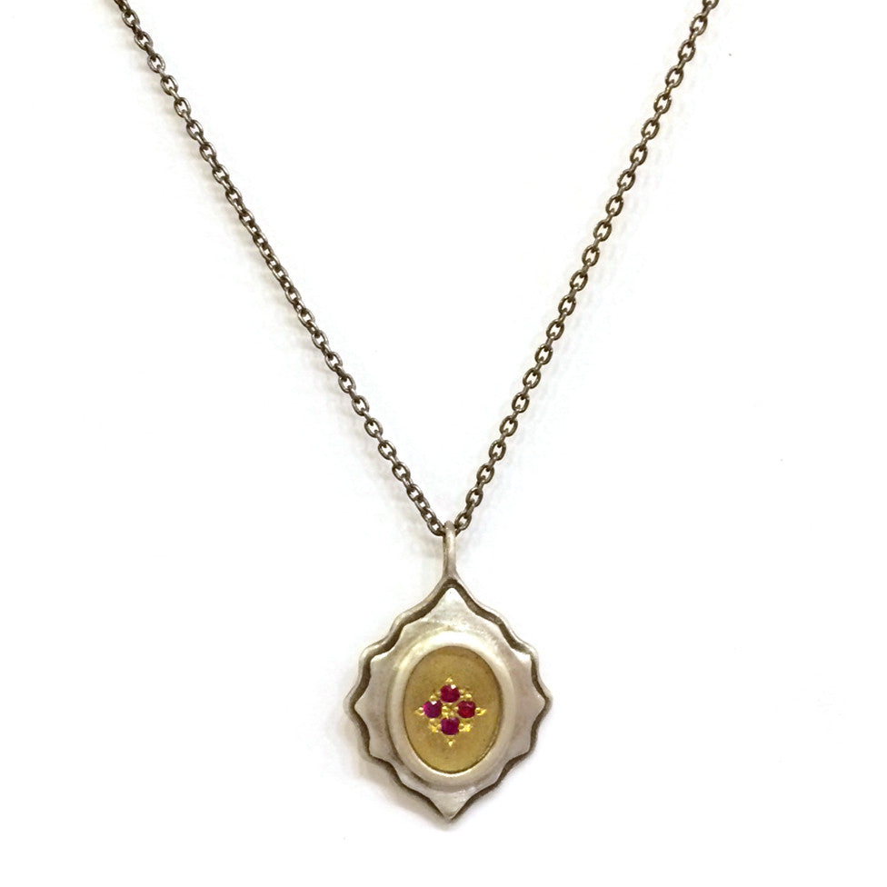 Ruby Silver and Gold Necklace