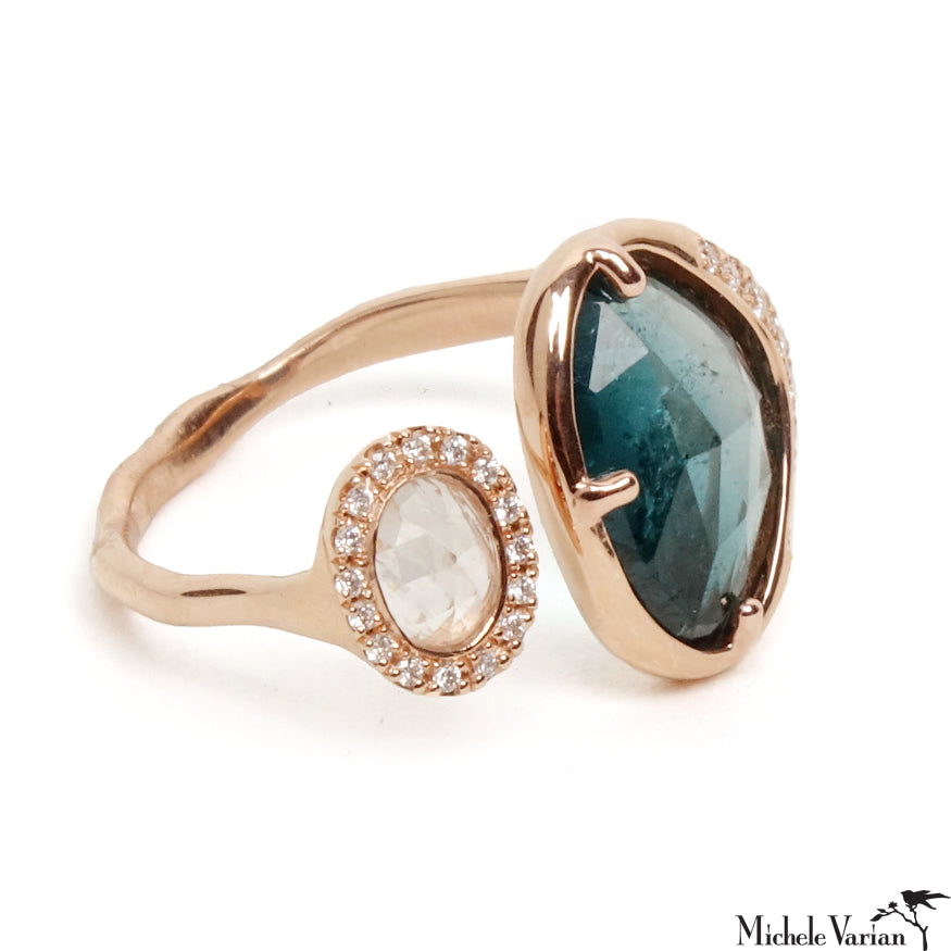 Tourmaline and Moonstone Rose Gold Ring