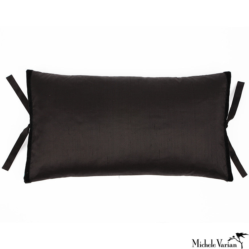 Silk Dupioni Pillow Black 12x22