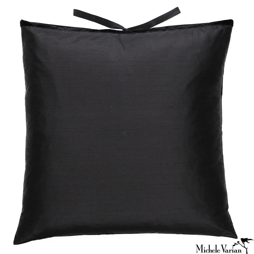 Silk Dupioni Pillow Black 22x22