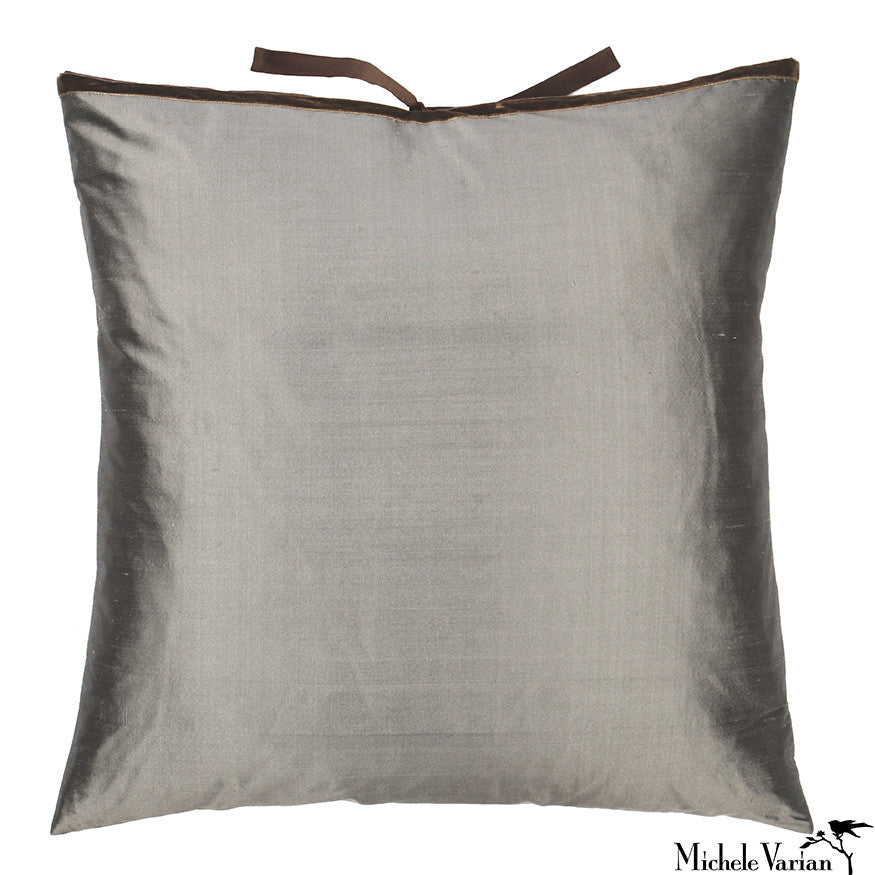 Silk Dupioni Pillow Carbon 22x22