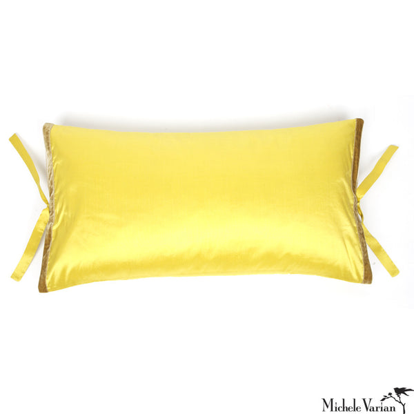 Silk Dupioni Pillow Citron 12x22