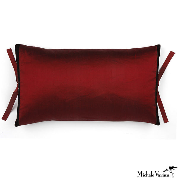 Silk Dupioni Pillow Garnet  12x22