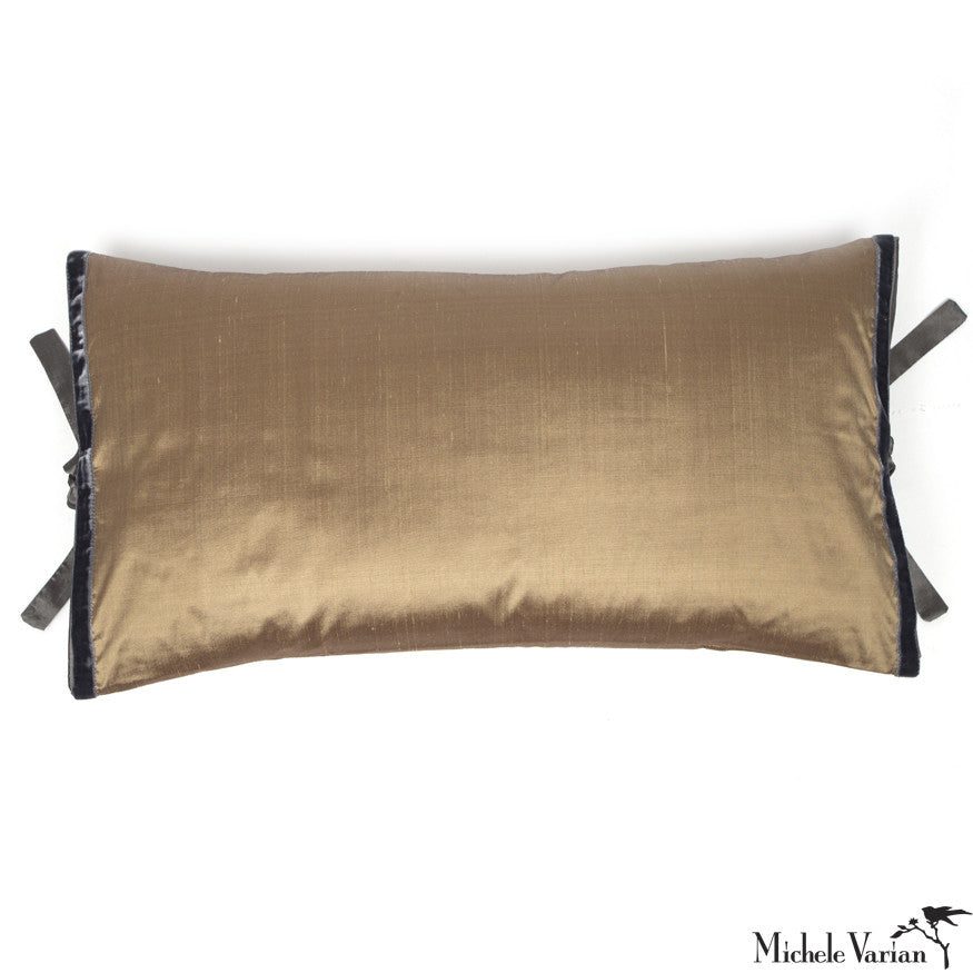 Silk Dupioni Pillow Gold 12x22