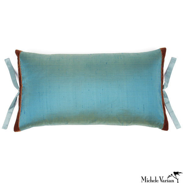 Silk Dupioni Pillow Light Teal 12x22