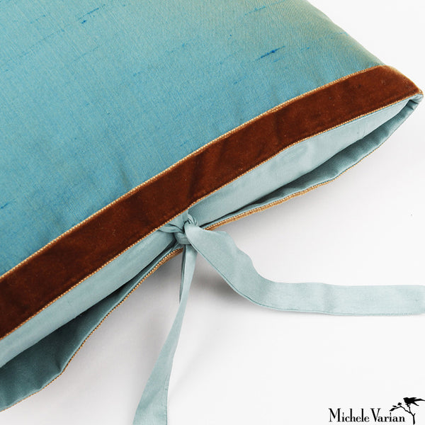 Silk Dupioni Pillow Light Teal 22x22