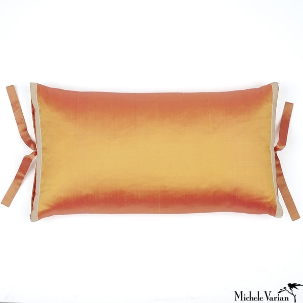 Silk Dupioni Pillow Marigold Rectangle 12x22