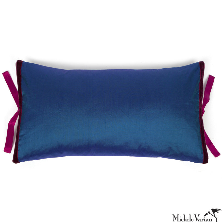 Silk Dupioni Pillow Peacock Flamenco 12x22
