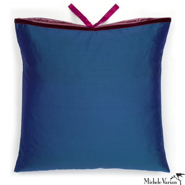 Silk Dupioni Pillow Peacock Flamenco 22x22