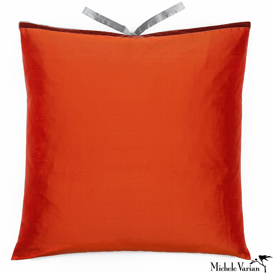 Silk Dupioni Pillow  Pomegranate 22x22