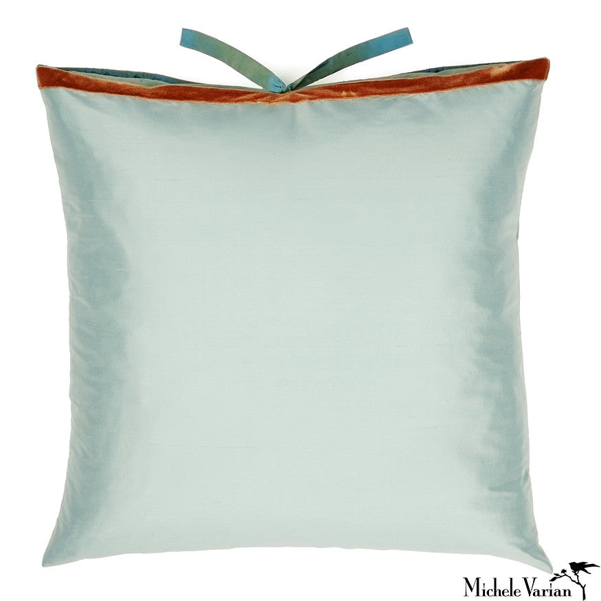 Silk Dupioni Pillow Robins Egg 22x22