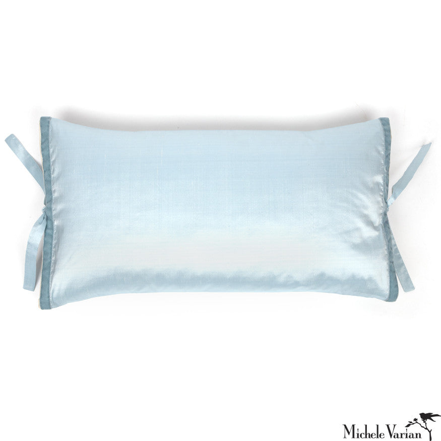 Silk Dupioni Pillow Sky Blue 12x22