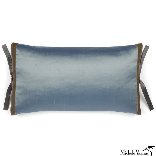 Silk Dupioni Pillow Slate 12x22