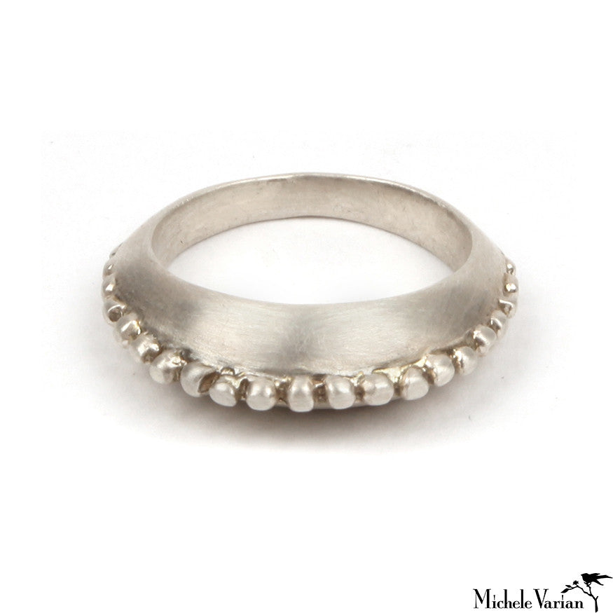 Silver Ring With Beading