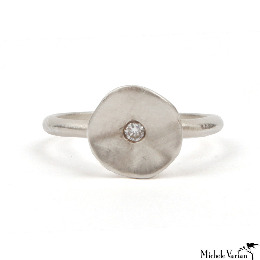 Silver Seed Ring with Diamond