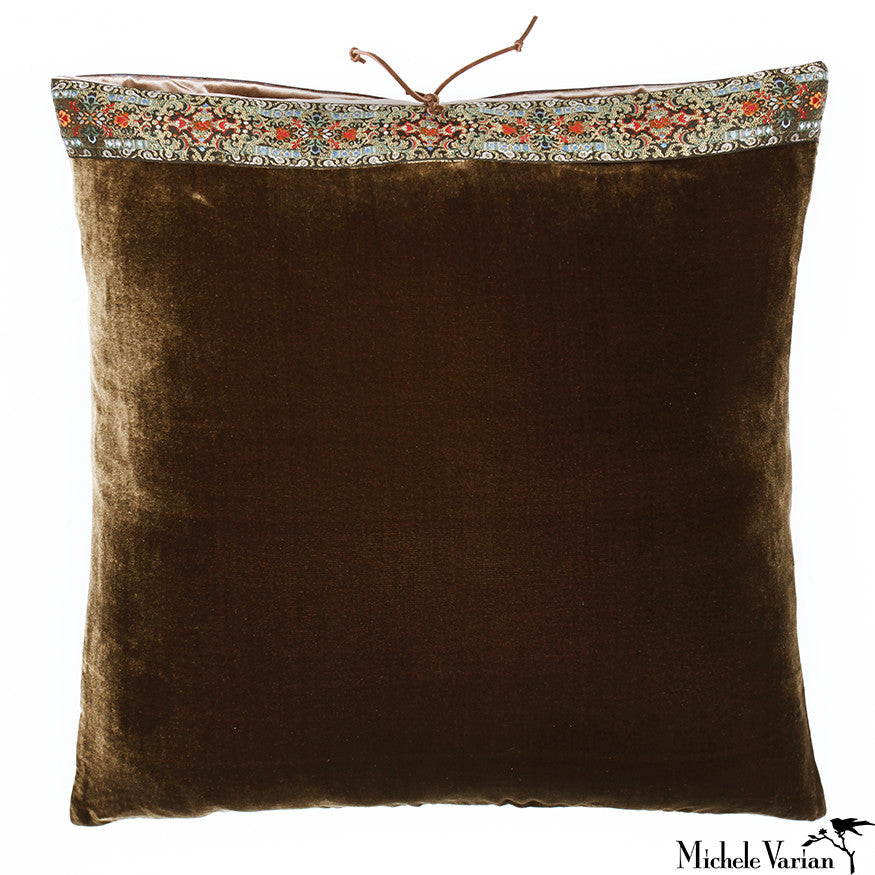 Silk Velvet Pillow Antique Bronze 20x20