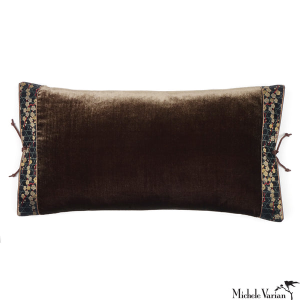 Silk Velvet Pillow Antique Bronze 12x22