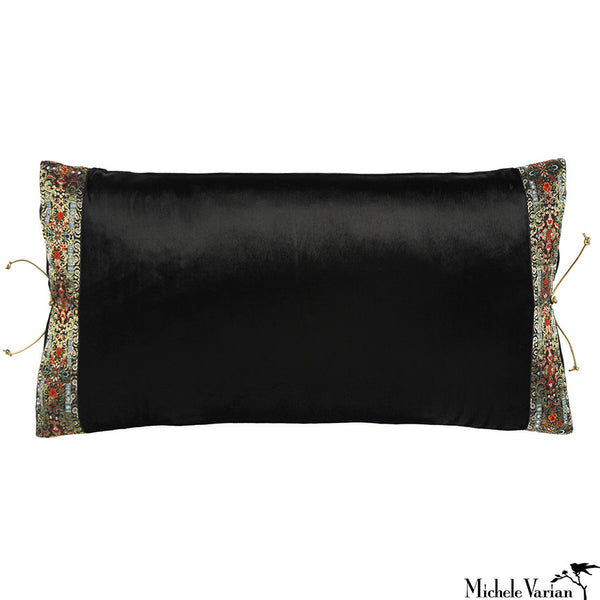 Silk Velvet Pillow Black Flat Pile 12x22