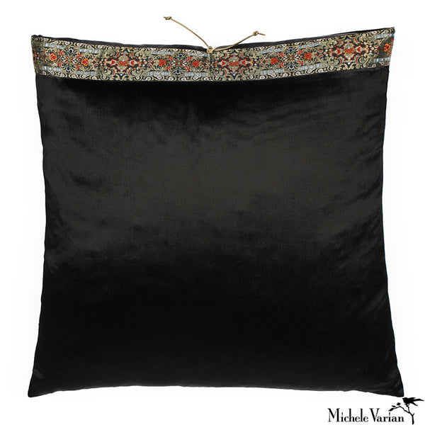 Silk Velvet Pillow Black Flat Pile 20x20