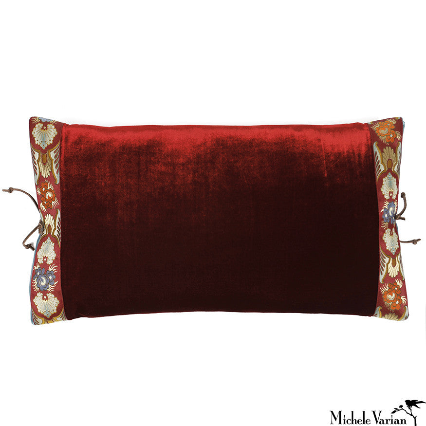 Silk Velvet Pillow Bordeaux 12x22