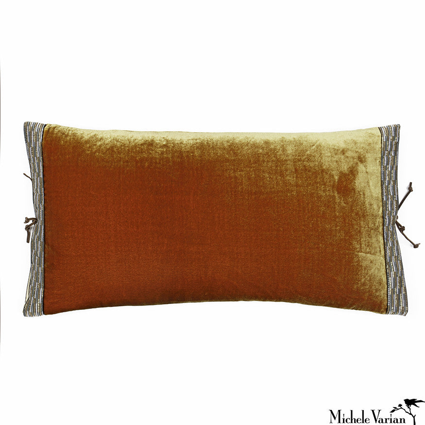 Silk Velvet Pillow Burnished Gold 12x22