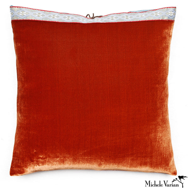 Silk Velvet Pillow Burnt Orange 20x20
