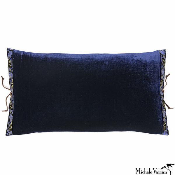 Silk Velvet Pillow Navy 12x22
