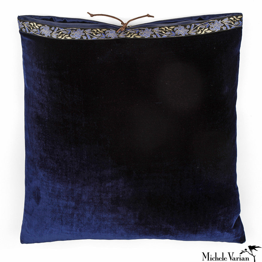Silk Velvet Pillow Navy 20x20