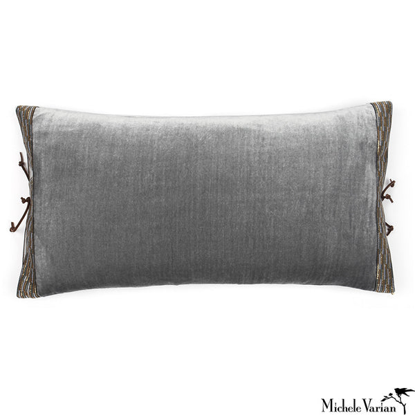 Silk Velvet Pillow Pearl Grey 12x22