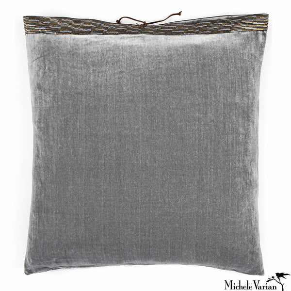 Silk Velvet Pillow Pearl Grey 20x20