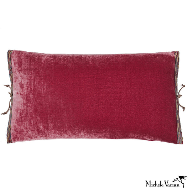 Silk Velvet Pillow Raspberry 12x22