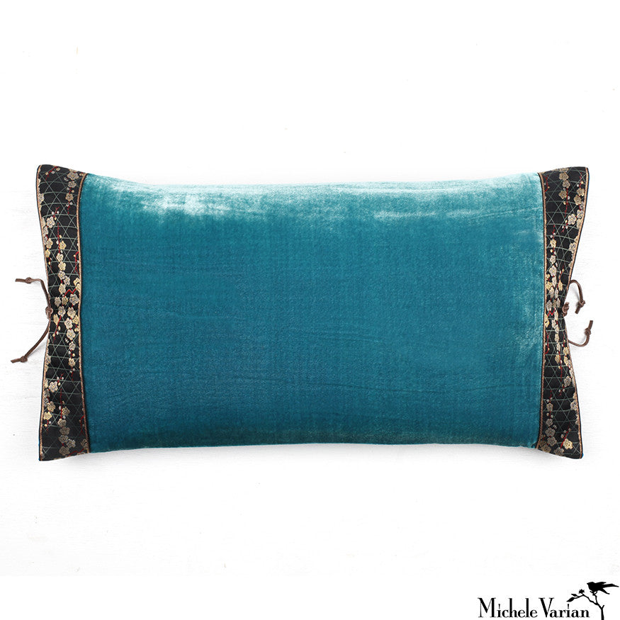 Silk Velvet Pillow Teal 12x22
