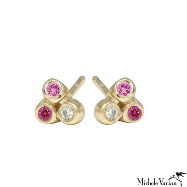 Pink Sapphire Trio Anemone Gold Stud Earrings