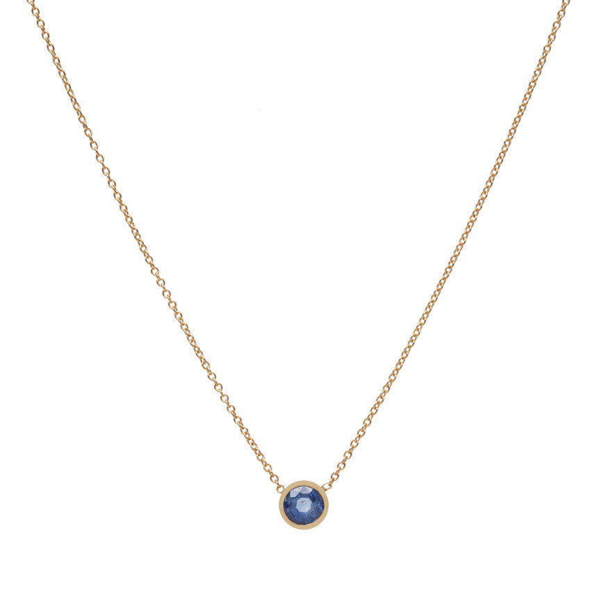 Simple Gold and Sapphire Necklace