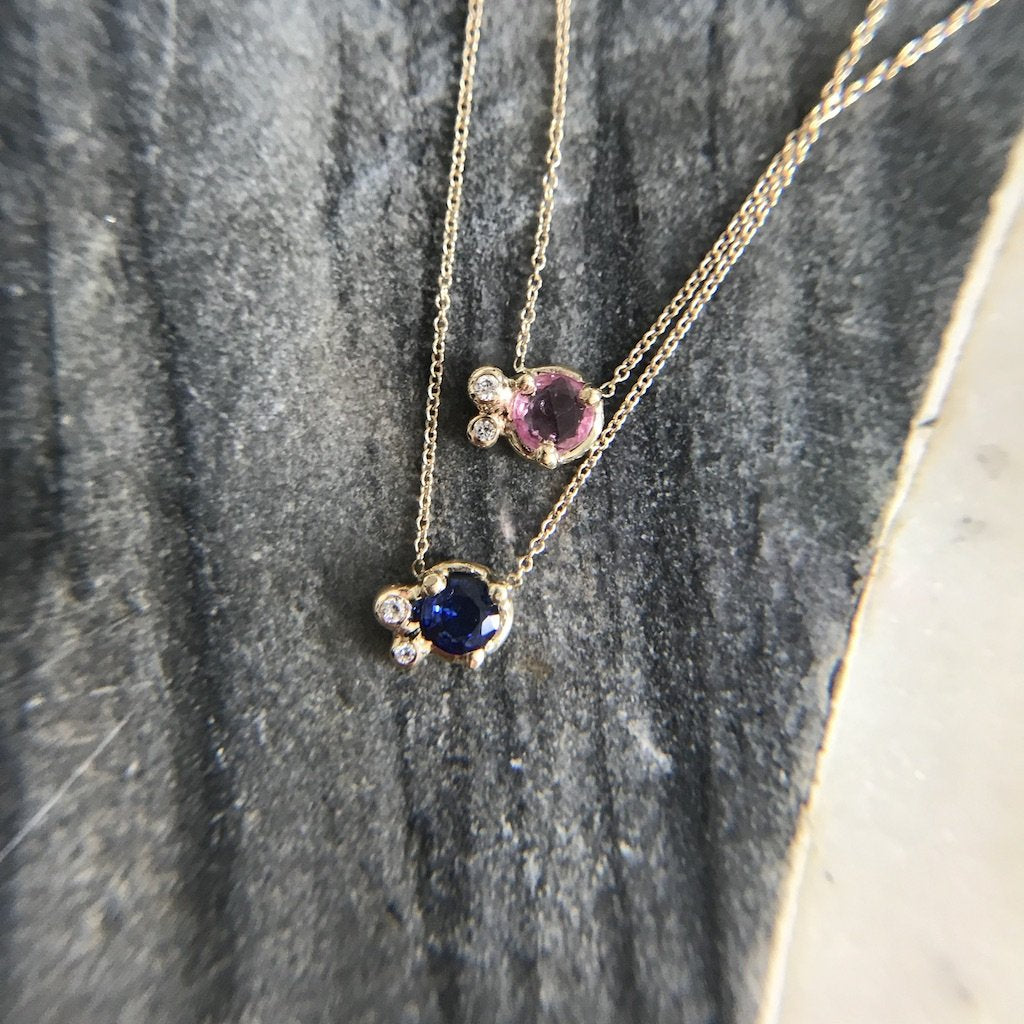Pink Sapphire and Diamond Cluster Necklace
