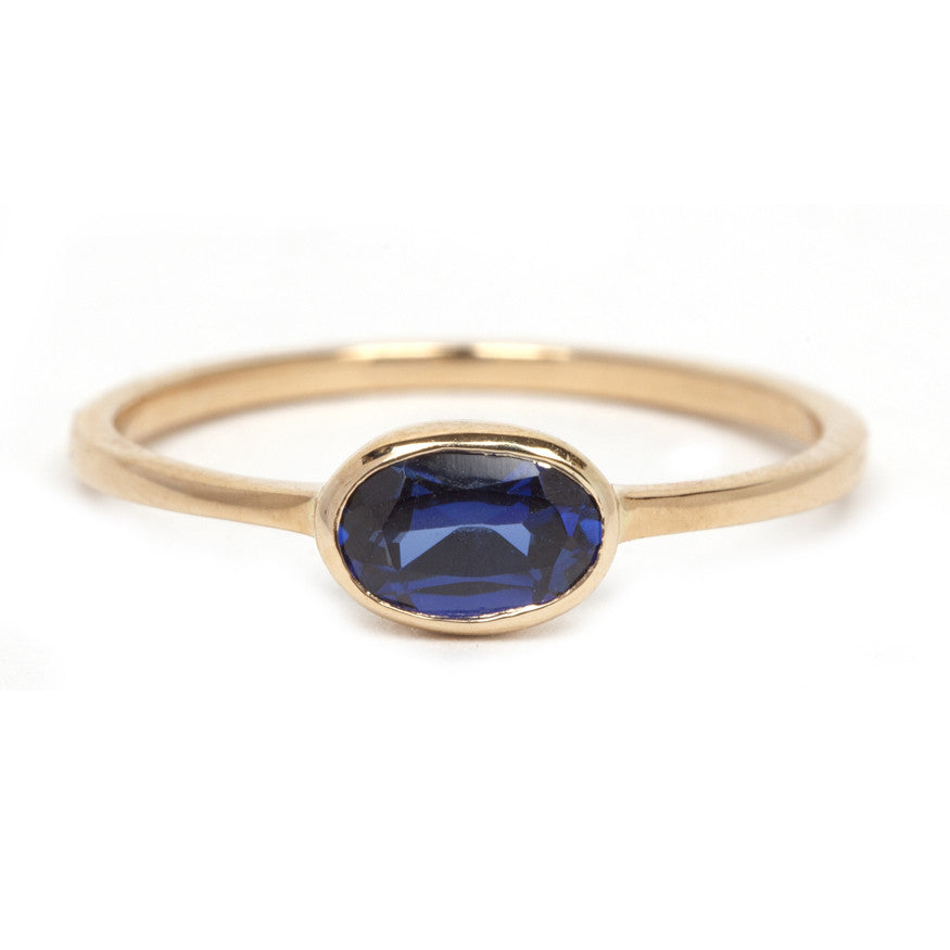 Gold and Sapphire Oval Ring