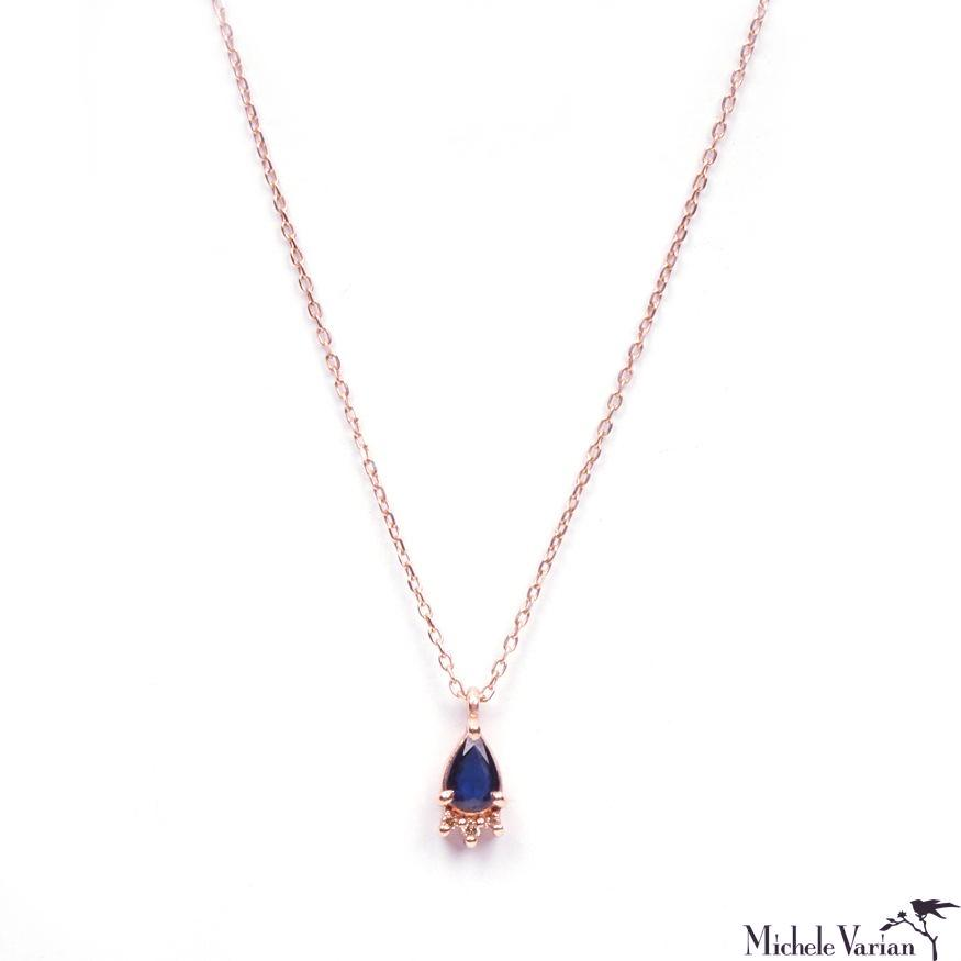 Blue Sapphire Rose Gold Necklace