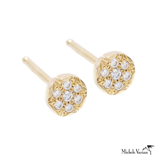 Gold Pave Diamond Saucer Studs