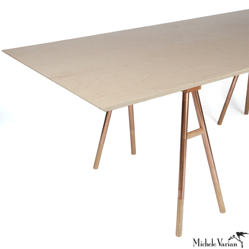 Customizable Copper Leg Sawhorse Table