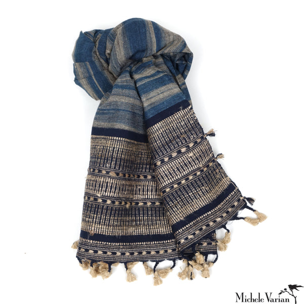 Hand woven Indigo Ikat Scarf or Throw