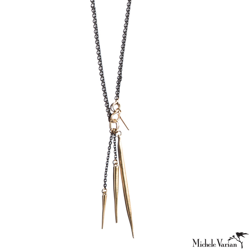 S Hook Quill Spike Charm Necklace Brass
